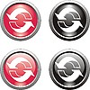 set of black and red recycling icons
