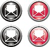 set of black and red mail icons