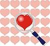 Векторный клипарт: Сердце под увеличительным стеклом