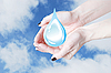 Hands holding water drop, environmental protection | Stock Foto