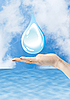 Hand with water drop, environmental protection | Stock Foto