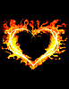 Blazing heart on the black background  | Stock Foto