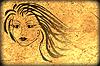 Cara de la mujer en el papel viejo, fondo del grunge   Ilustración