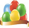 Vector clipart: Colored eggs with gold ribbon