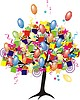 Vector clipart: cartoon party tree with balloons, gifts, boxes for happ