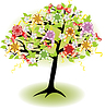 Holiday spring tree with bows and flowers | Stock Vector Graphics