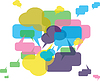 Vector clipart: forum or chat: background in speech bubbles concept