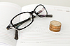 Photo 300 DPI: glasses, diary and coins