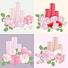 Vector clipart: roses, candles and hearts