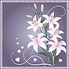 Vector clipart: Beautiful spring card with lily flowers