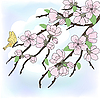 Vector clipart: sakura branch with flowers
