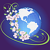 Vector clipart: planet with flowers