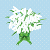 Spring snowdrop flowers with green ribbon