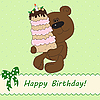 Vector clipart: Cute bear bringing birthday cake