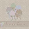 Vector clipart: Pastel greeting card with Easter eggs