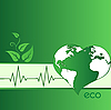 Vector clipart: Eco green heart-shaped Earth
