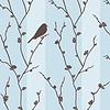 Векторный клипарт: бесшовные модели с птицей на сакуры