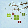 Vector clipart: Cute gifts hanging on tree