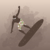Векторный клипарт: Человек серфинга