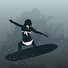 Векторный клипарт: Женщина серфинга
