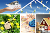 Invest in real estate. Business collage | Stock Foto