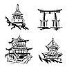 Asian temples | Stock Vector Graphics