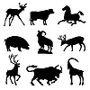 Vector clipart: ungulate animal silhouettes