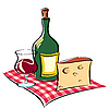 Vector clipart: wine and cheese