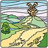 Векторный клипарт: Пейзаж с мельницей