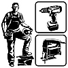Vector clipart: worker and tools