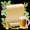 beer and paper scroll