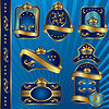 Vector clipart: blue royal labeles blanck