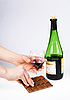 Hands, wine and chocolate | Stock Foto