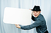 Young man with placard | Stock Foto