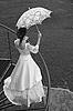 Photo 300 DPI: Bride with umbrella. BW.