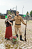 Photo 300 DPI: Couple of lady and soldier in retro style