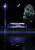 Photo 300 DPI: romantic bench with lantern and book at night