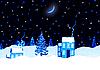 圣诞之夜景观 | 光栅插图