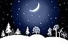 Winter night landscape | Stock Illustration