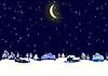 冬季夜间景观 | 光栅插图