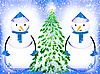 Фото 300 DPI: Два снеговика и новогодняя елка