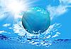 水に浮かぶ地球 | ラスタイラスト