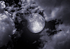 Full moon in clouds   Stock Illustration