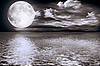 Full moon over water | Stock Foto