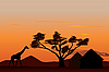 Sunset in Africa | Stock Illustration