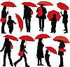 Vector clipart: People with umbrellas