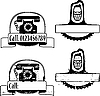Vector clipart: Rubber stamp with phone