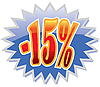 15 percent discount label