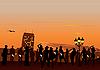 Векторный клипарт: вечеринка на закате