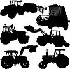 Vector clipart: Tractor silhouettes